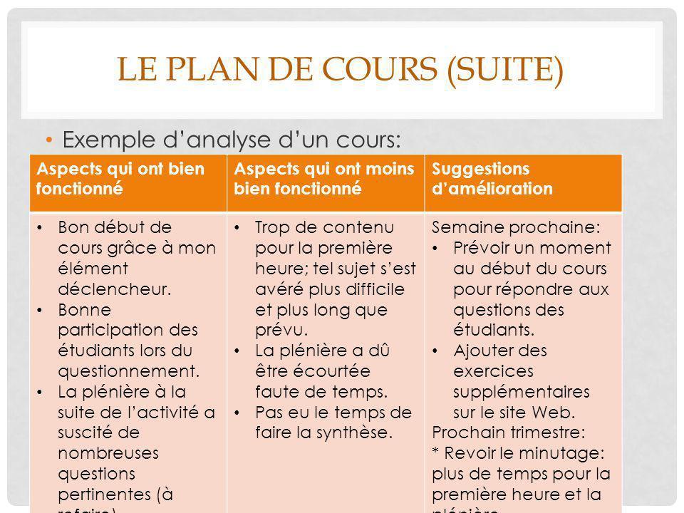 LE PLAN DE COURS (SUITE) Exemple d'analyse d'un cours: Aspects qui ont bien fonctionné Aspects qui ont moins bien fonctionné Suggestions d'amélioratio