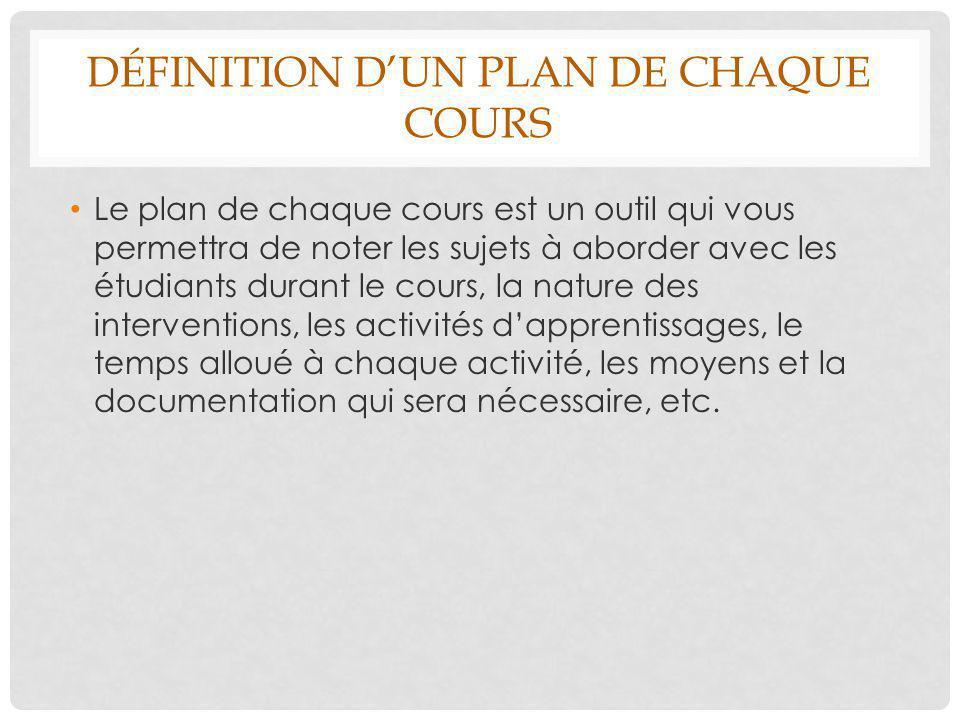 DÉFINITION D'UN PLAN DE CHAQUE COURS Le plan de chaque cours est un outil qui vous permettra de noter les sujets à aborder avec les étudiants durant l