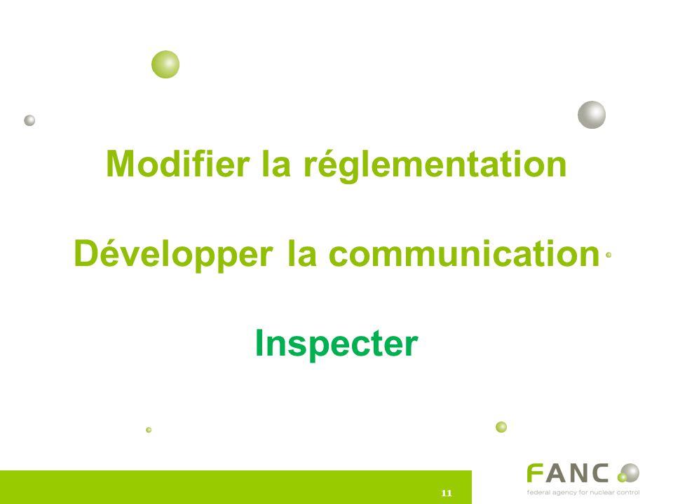 11 Modifier la réglementation Développer la communication Inspecter