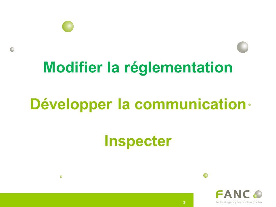 22 Modifier la réglementation Développer la communication Inspecter