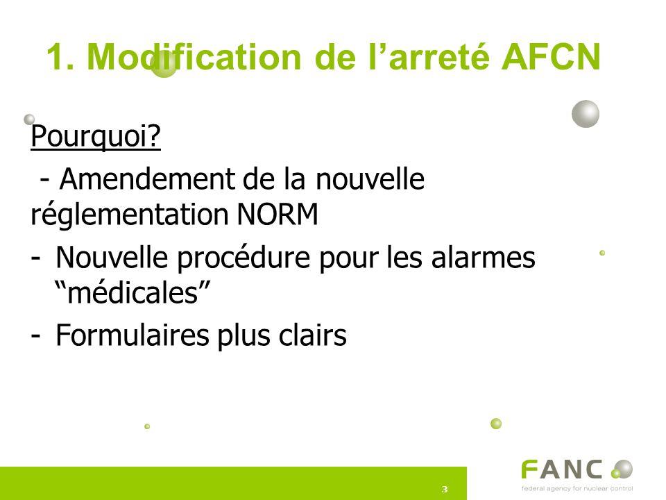 33 1.Modification de l'arreté AFCN Pourquoi.