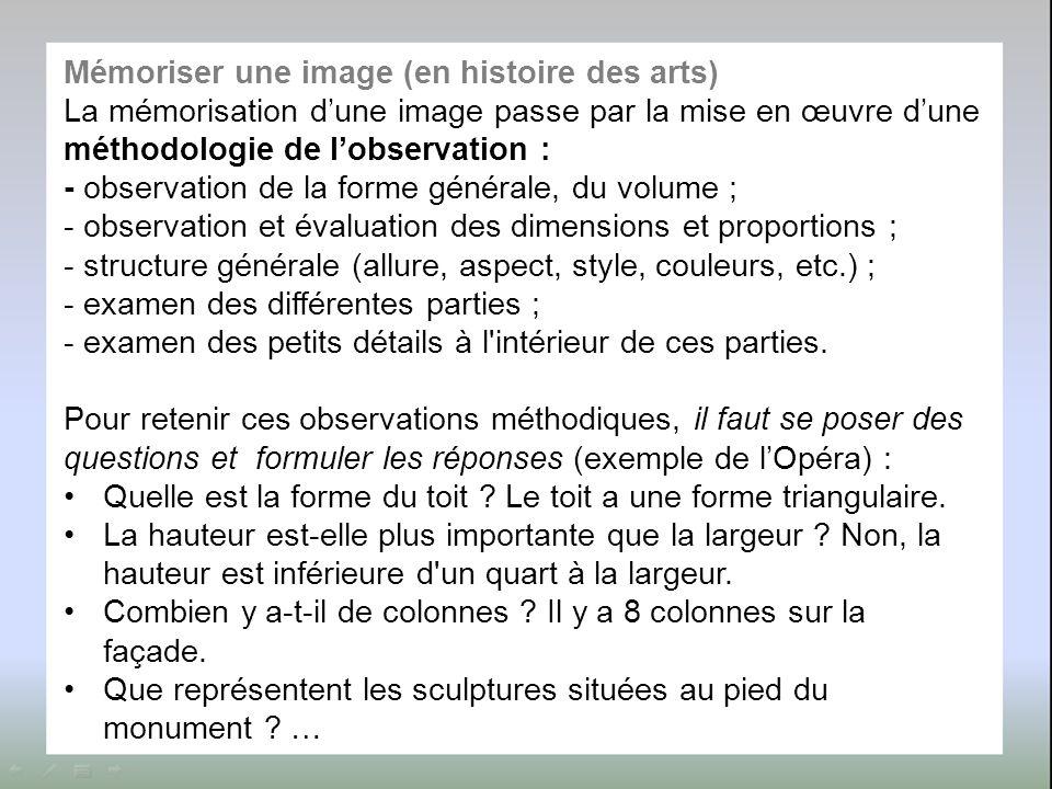 Mémoriser une image (en histoire des arts) La mémorisation d'une image passe par la mise en œuvre d'une méthodologie de l'observation : - observation