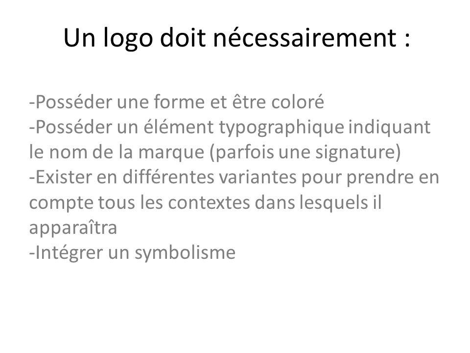 Un logo doit nécessairement : -Posséder une forme et être coloré -Posséder un élément typographique indiquant le nom de la marque (parfois une signature) -Exister en différentes variantes pour prendre en compte tous les contextes dans lesquels il apparaîtra -Intégrer un symbolisme