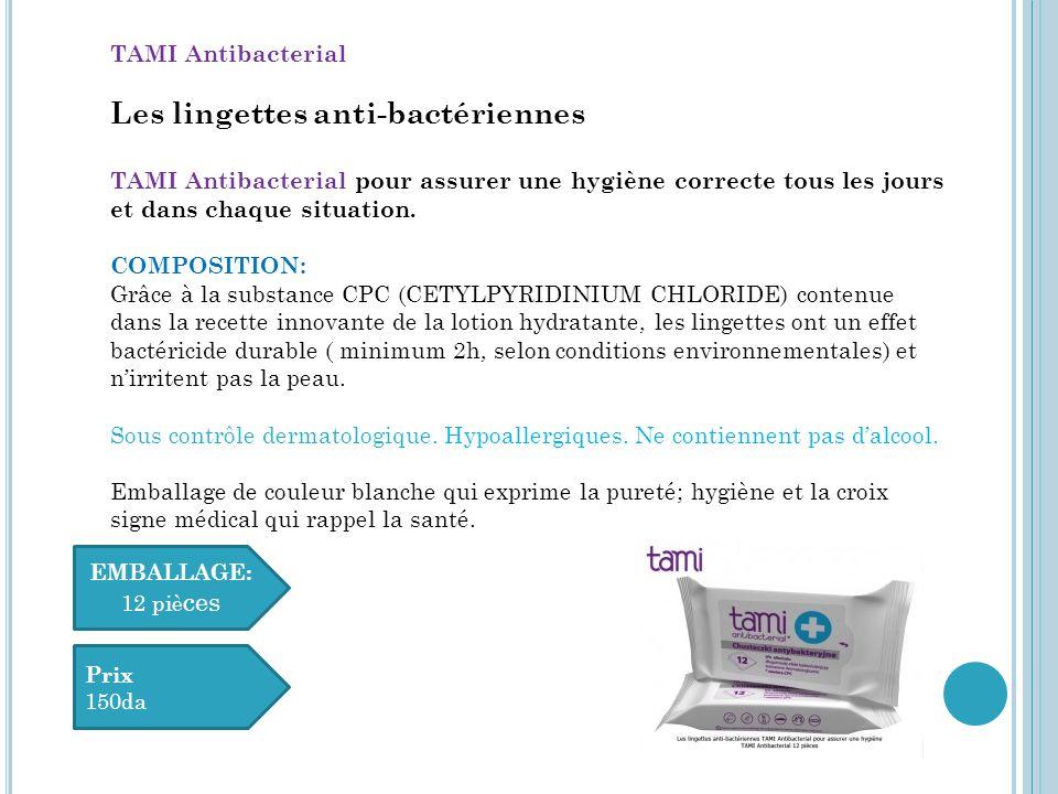 Les lingettes humidifiées démaquillantes douces TAMI Sense of Beauty COMPOSITION Une formule exceptionnelle du lait hydratant qui contient : EXTRAIT D