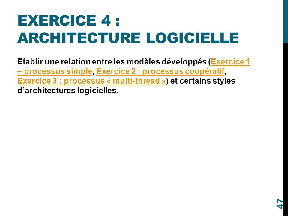 EXERCICE 4 : ARCHITECTURE LOGICIELLE Etablir une relation entre les modèles développés (Exercice 1 – processus simple, Exercice 2 : processus coopérat
