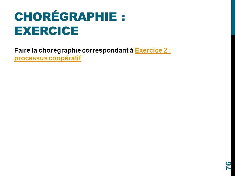 CHORÉGRAPHIE : EXERCICE Faire la chorégraphie correspondant à Exercice 2 : processus coopératifExercice 2 : processus coopératif 76