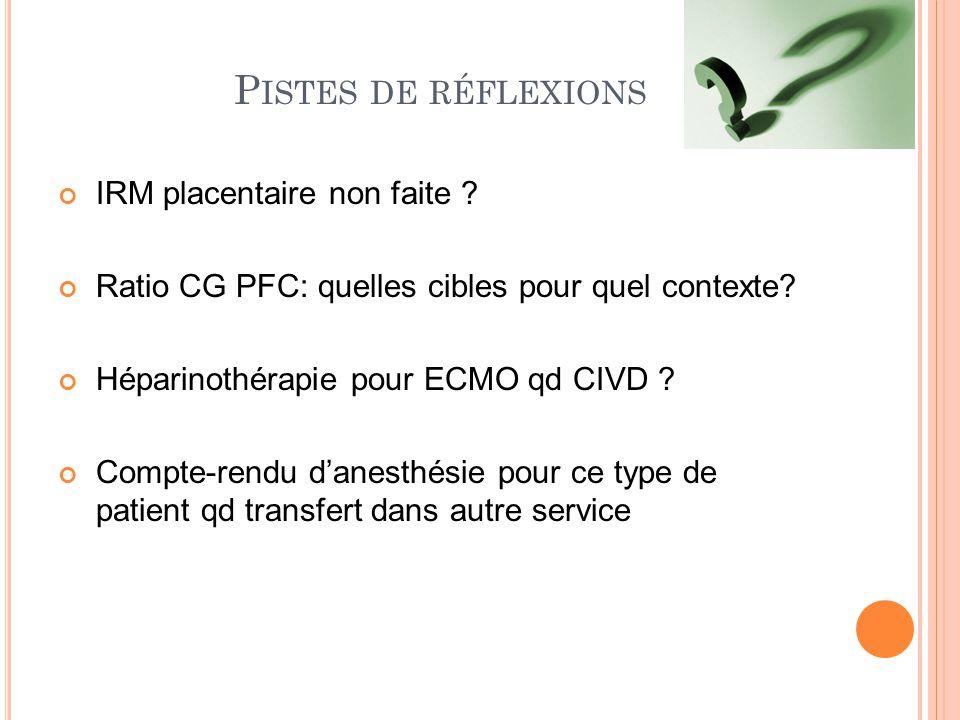P ISTES DE RÉFLEXIONS IRM placentaire non faite ? Ratio CG PFC: quelles cibles pour quel contexte? Héparinothérapie pour ECMO qd CIVD ? Compte-rendu d