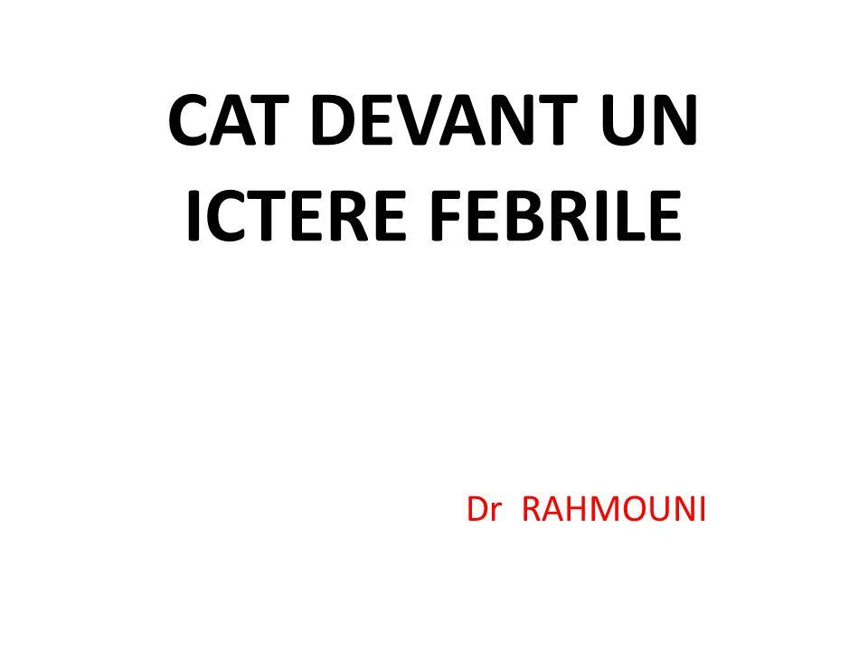 CAT DEVANT UN ICTERE FEBRILE Dr RAHMOUNI