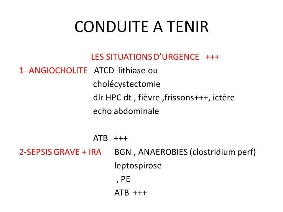 CONDUITE A TENIR LES SITUATIONS D'URGENCE +++ 1- ANGIOCHOLITE ATCD lithiase ou cholécystectomie dlr HPC dt, fièvre,frissons+++, ictère echo abdominale