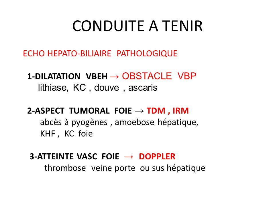 CONDUITE A TENIR ECHO HEPATO-BILIAIRE PATHOLOGIQUE 1-DILATATION VBEH → OBSTACLE VBP lithiase, KC, douve, ascaris 2-ASPECT TUMORAL FOIE → TDM, IRM abcè