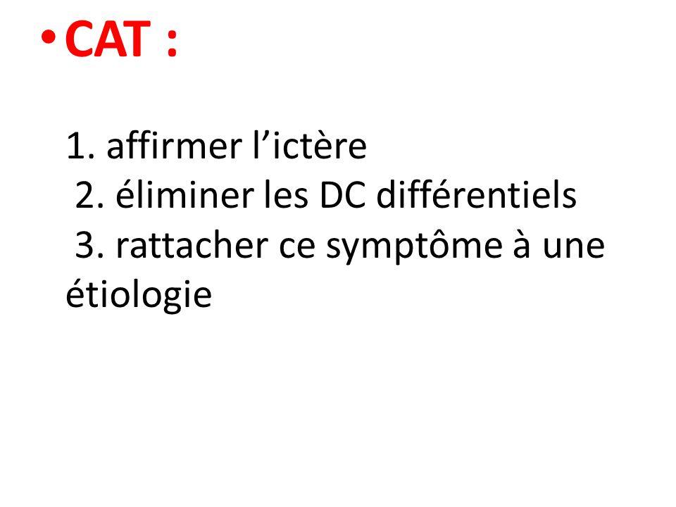 CAT : 1. affirmer l'ictère 2. éliminer les DC différentiels 3. rattacher ce symptôme à une étiologie