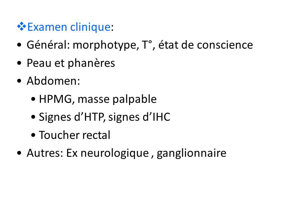  Examen clinique: Général: morphotype, T°, état de conscience Peau et phanères Abdomen: HPMG, masse palpable Signes d'HTP, signes d'IHC Toucher recta