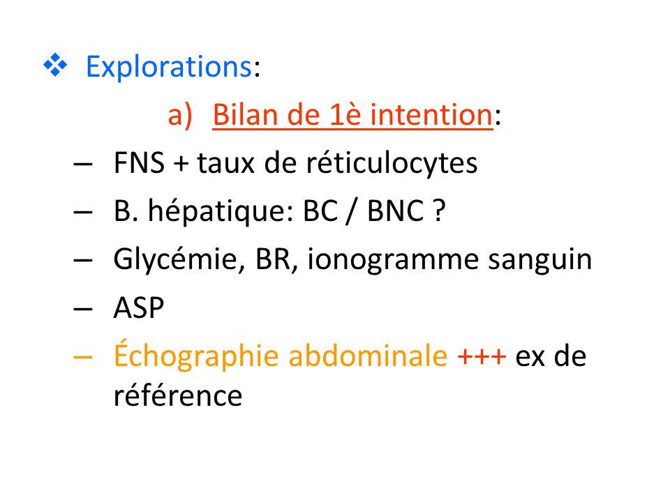  Explorations: a)Bilan de 1è intention: – FNS + taux de réticulocytes – B. hépatique: BC / BNC ? – Glycémie, BR, ionogramme sanguin – ASP – Échograph