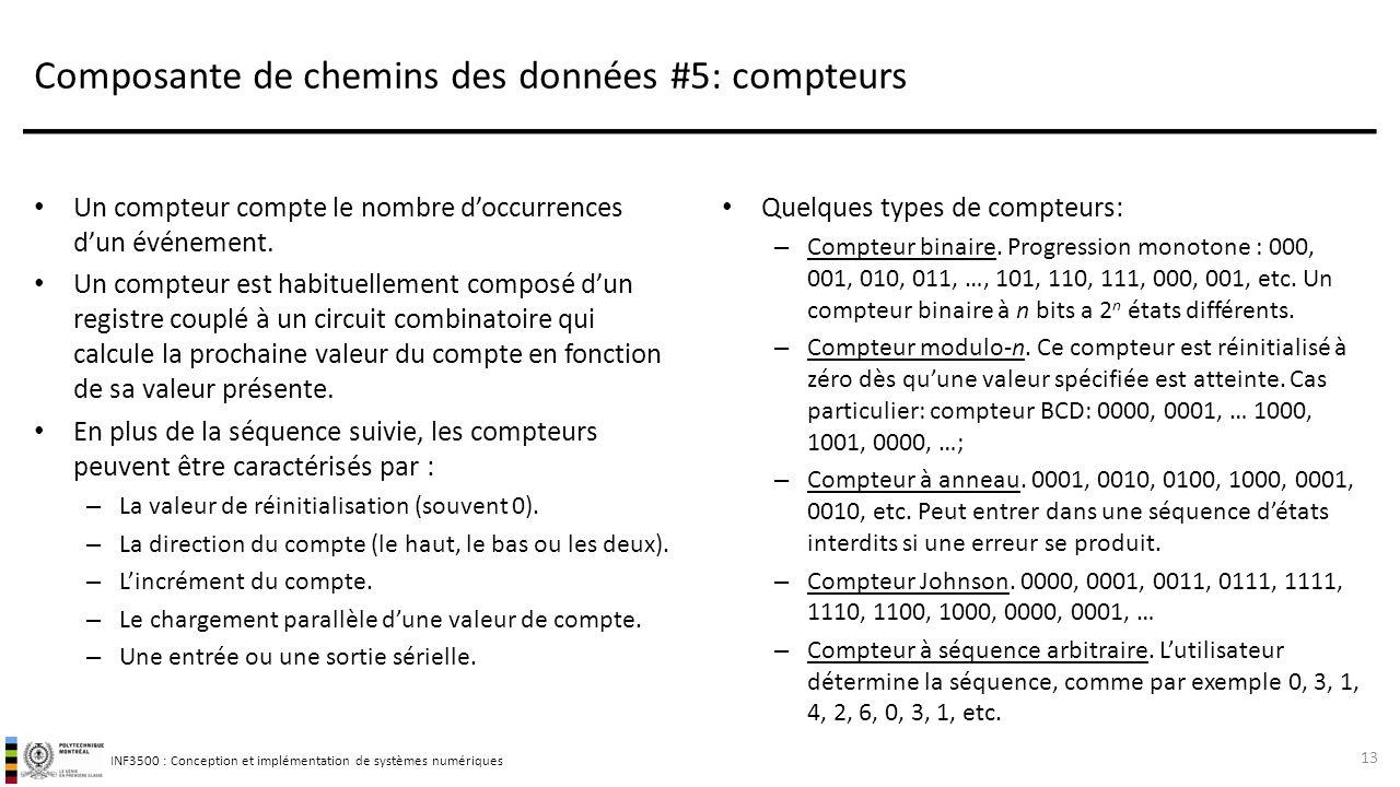 INF3500 : Conception et implémentation de systèmes numériques Composante de chemins des données #5: compteurs Un compteur compte le nombre d'occurrenc