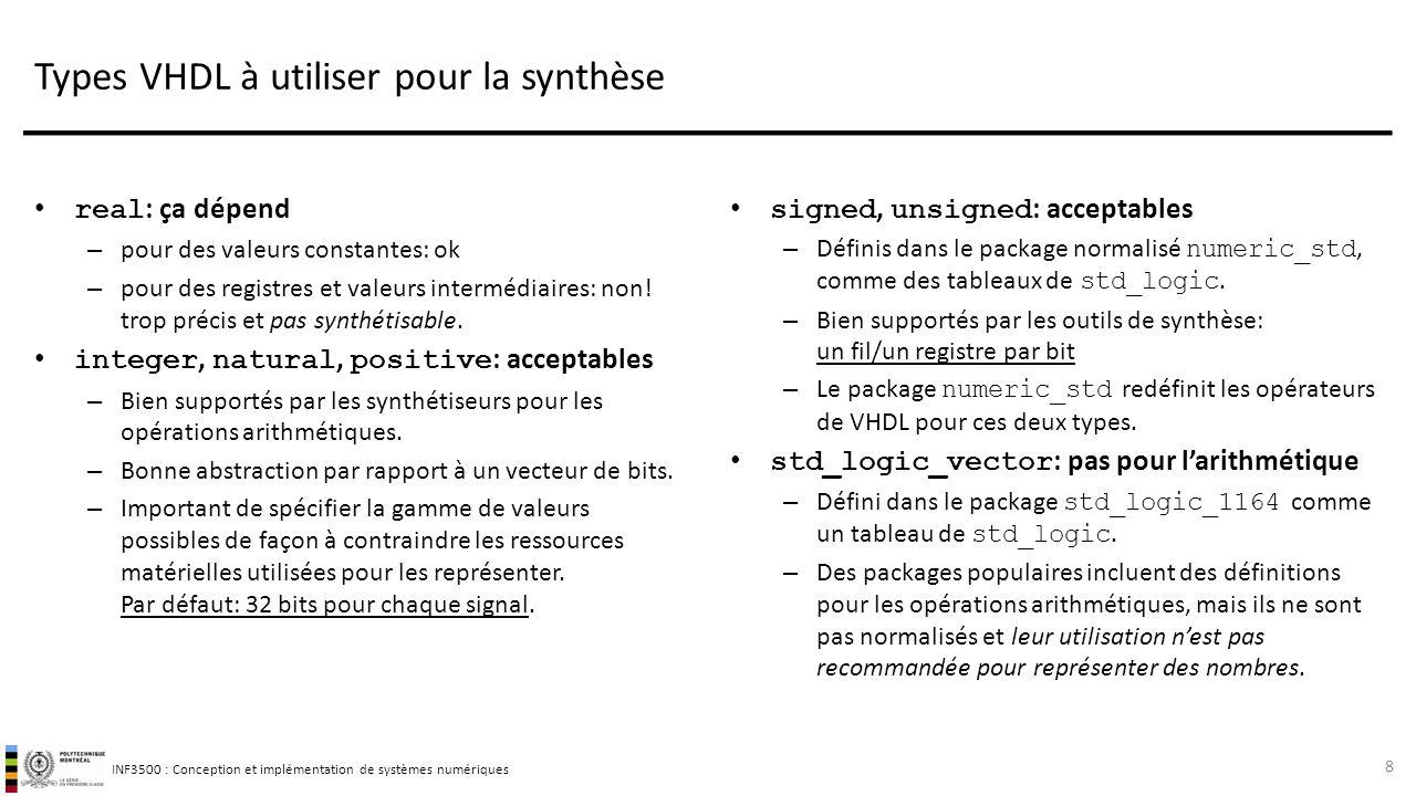 INF3500 : Conception et implémentation de systèmes numériques Types VHDL à utiliser pour la synthèse real : ça dépend – pour des valeurs constantes: o