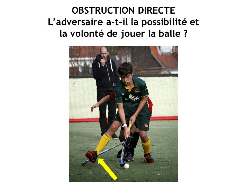 OBSTRUCTION DIRECTE L'adversaire a-t-il la possibilité et la volonté de jouer la balle ?