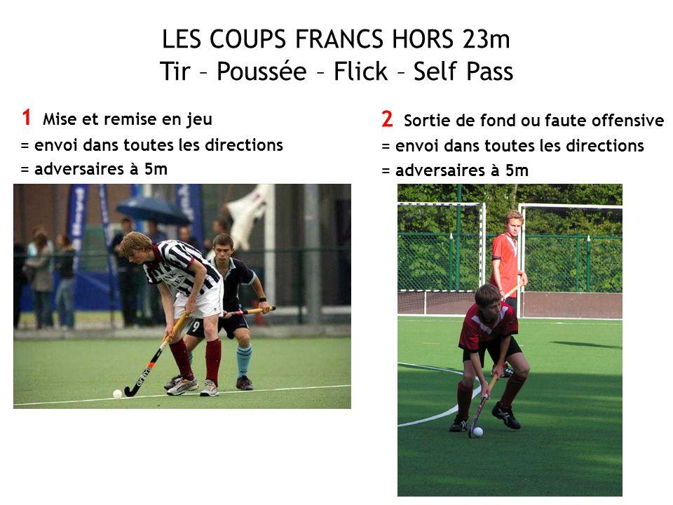 LES COUPS FRANCS HORS 23m Tir – Poussée – Flick – Self Pass 1 Mise et remise en jeu = envoi dans toutes les directions = adversaires à 5m 2 Sortie de