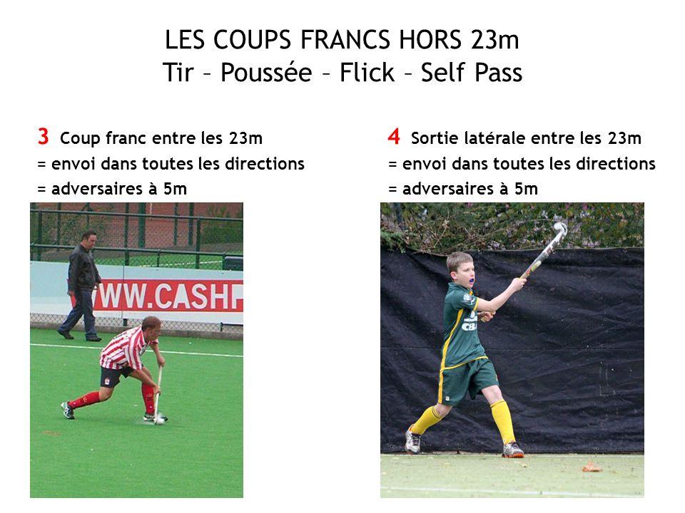 LES COUPS FRANCS HORS 23m Tir – Poussée – Flick – Self Pass 3 Coup franc entre les 23m = envoi dans toutes les directions = adversaires à 5m 4 Sortie