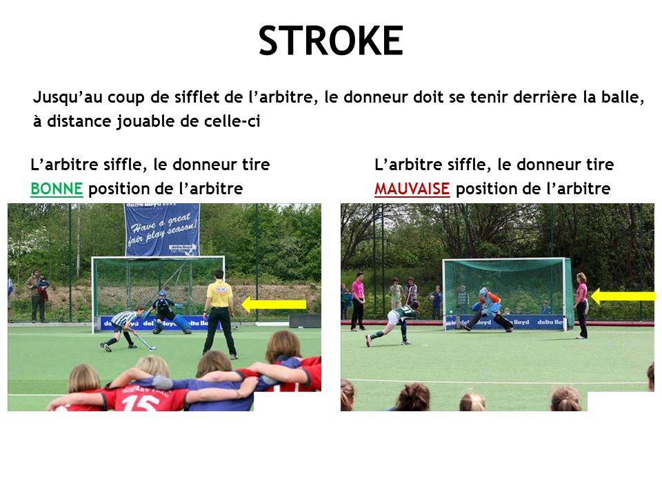 L'arbitre siffle, le donneur tire BONNE position de l'arbitre STROKE L'arbitre siffle, le donneur tire MAUVAISE position de l'arbitre Jusqu'au coup de