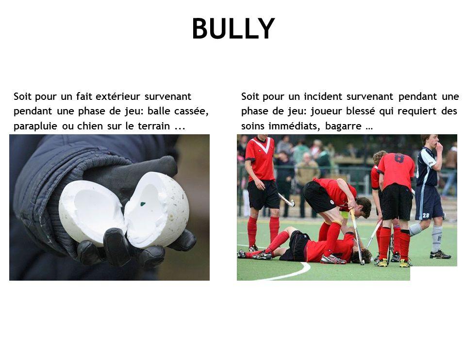 BULLY Soit pour un fait extérieur survenant pendant une phase de jeu: balle cassée, parapluie ou chien sur le terrain... Soit pour un incident survena