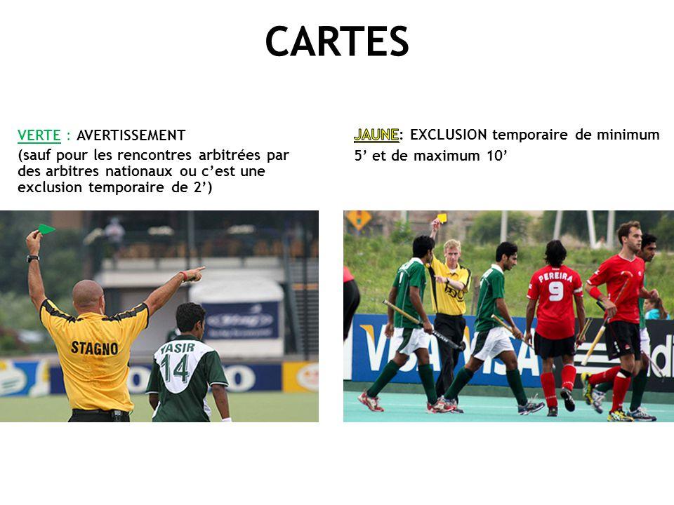 CARTES VERTE : AVERTISSEMENT (sauf pour les rencontres arbitrées par des arbitres nationaux ou c'est une exclusion temporaire de 2')