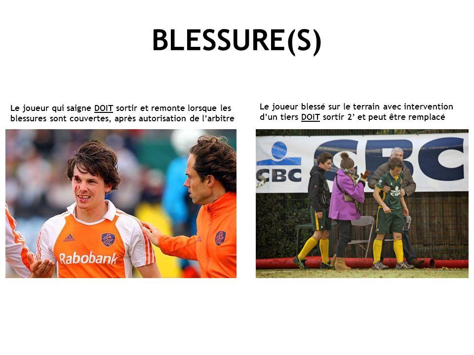 BLESSURE(S) Le joueur qui saigne DOIT sortir et remonte lorsque les blessures sont couvertes, après autorisation de l'arbitre Le joueur blessé sur le