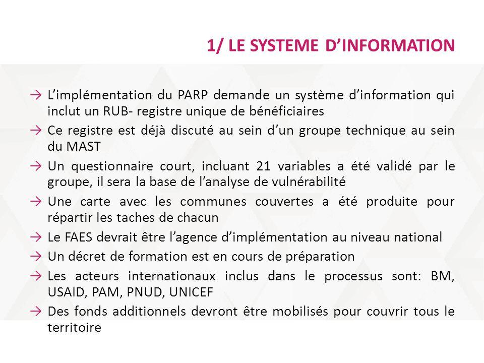 1/ LE SYSTEME D'INFORMATION →L'implémentation du PARP demande un système d'information qui inclut un RUB- registre unique de bénéficiaires →Ce registr