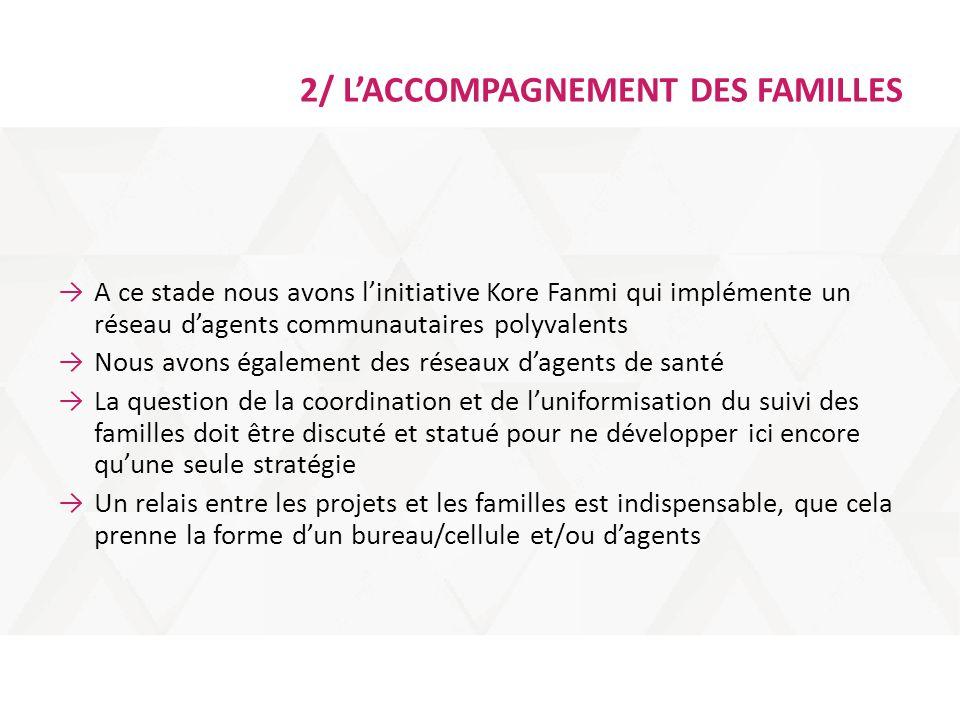 2/ L'ACCOMPAGNEMENT DES FAMILLES →A ce stade nous avons l'initiative Kore Fanmi qui implémente un réseau d'agents communautaires polyvalents →Nous avo