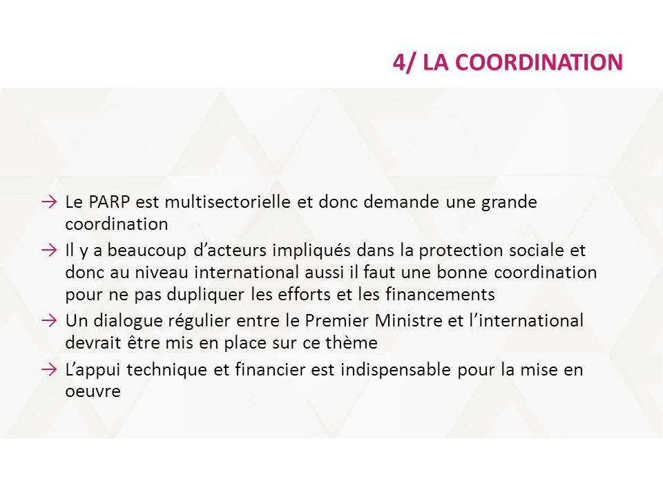 4/ LA COORDINATION →Le PARP est multisectorielle et donc demande une grande coordination →Il y a beaucoup d'acteurs impliqués dans la protection socia