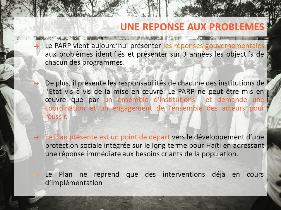UNE REPONSE AUX PROBLEMES → Le PARP vient aujourd'hui présenter les réponses gouvernementales aux problèmes identifiés et présenter sur 3 années les o