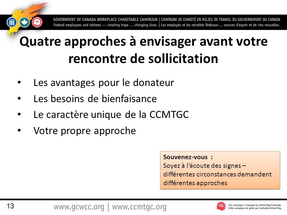 Quatre approches à envisager avant votre rencontre de sollicitation Les avantages pour le donateur Les besoins de bienfaisance Le caractère unique de la CCMTGC Votre propre approche 13 Souvenez-vous : Soyez à l'écoute des signes – différentes circonstances demandent différentes approches