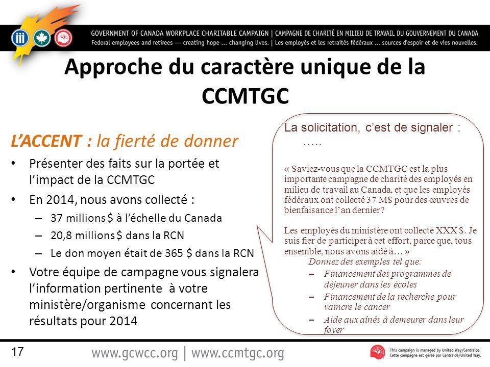 Approche du caractère unique de la CCMTGC L'ACCENT : la fierté de donner Présenter des faits sur la portée et l'impact de la CCMTGC En 2014, nous avons collecté : – 37 millions $ à l'échelle du Canada – 20,8 millions $ dans la RCN – Le don moyen était de 365 $ dans la RCN Votre équipe de campagne vous signalera l'information pertinente à votre ministère/organisme concernant les résultats pour 2014 La solicitation, c'est de signaler : …..
