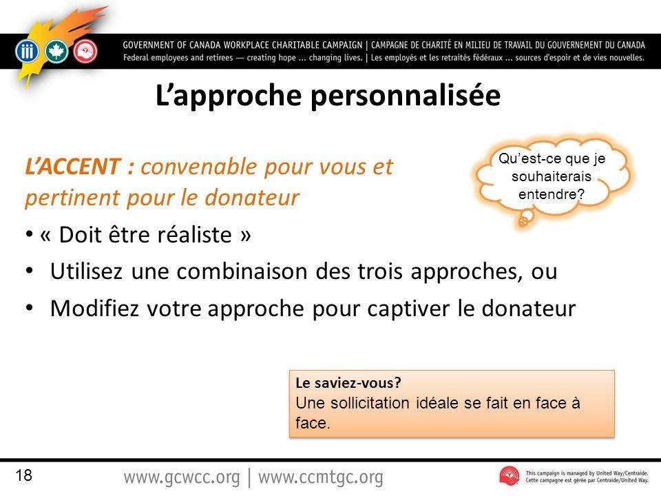 L'approche personnalisée L'ACCENT : convenable pour vous et pertinent pour le donateur « Doit être réaliste » Utilisez une combinaison des trois approches, ou Modifiez votre approche pour captiver le donateur 18 Le saviez-vous.