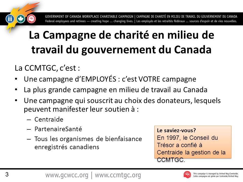 La Campagne de charité en milieu de travail du gouvernement du Canada La CCMTGC, c'est : Une campagne d'EMPLOYÉS : c'est VOTRE campagne La plus grande campagne en milieu de travail au Canada Une campagne qui souscrit au choix des donateurs, lesquels peuvent manifester leur soutien à : – Centraide – PartenaireSanté – Tous les organismes de bienfaisance enregistrés canadiens 3 Le saviez-vous.