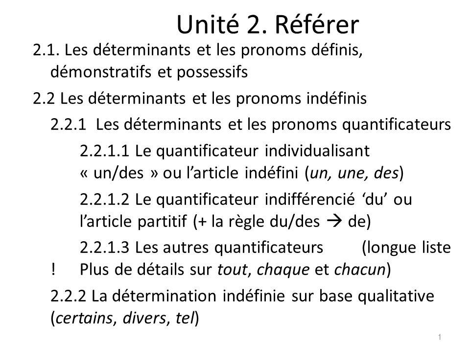Unité 2. Référer 2.1. Les déterminants et les pronoms définis, démonstratifs et possessifs 2.2 Les déterminants et les pronoms indéfinis 2.2.1 Les dét