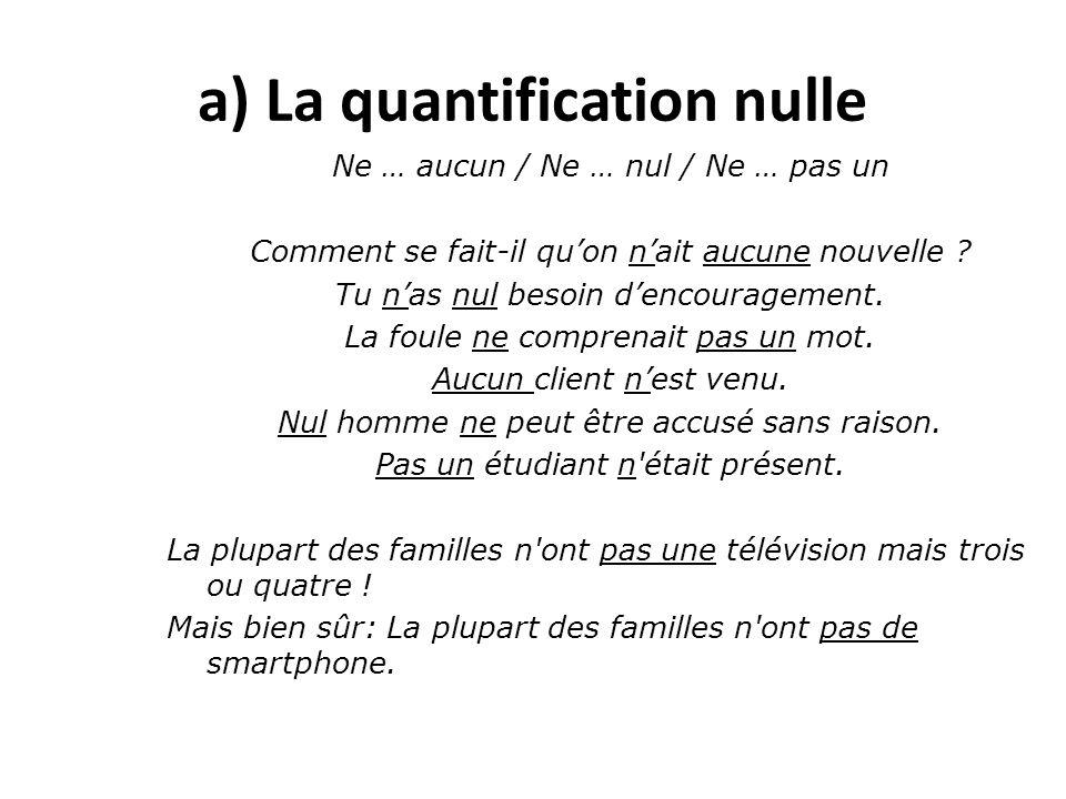 a) La quantification nulle Ne … aucun / Ne … nul / Ne … pas un Comment se fait-il qu'on n'ait aucune nouvelle ? Tu n'as nul besoin d'encouragement. La