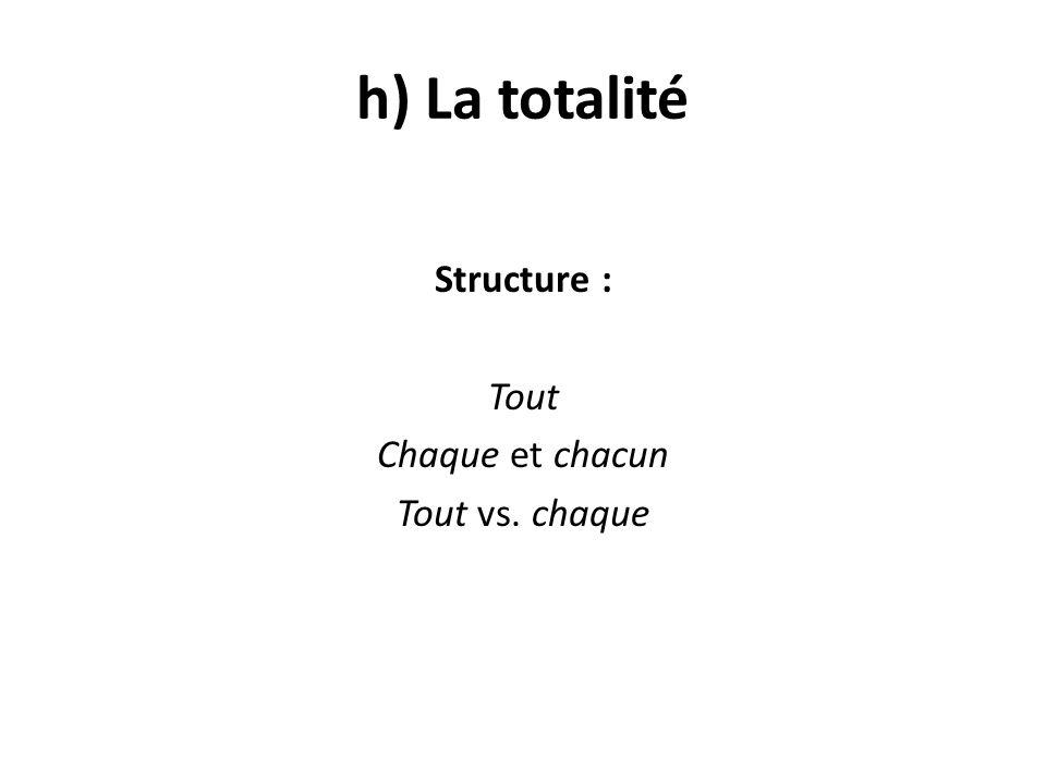 h) La totalité Structure : Tout Chaque et chacun Tout vs. chaque