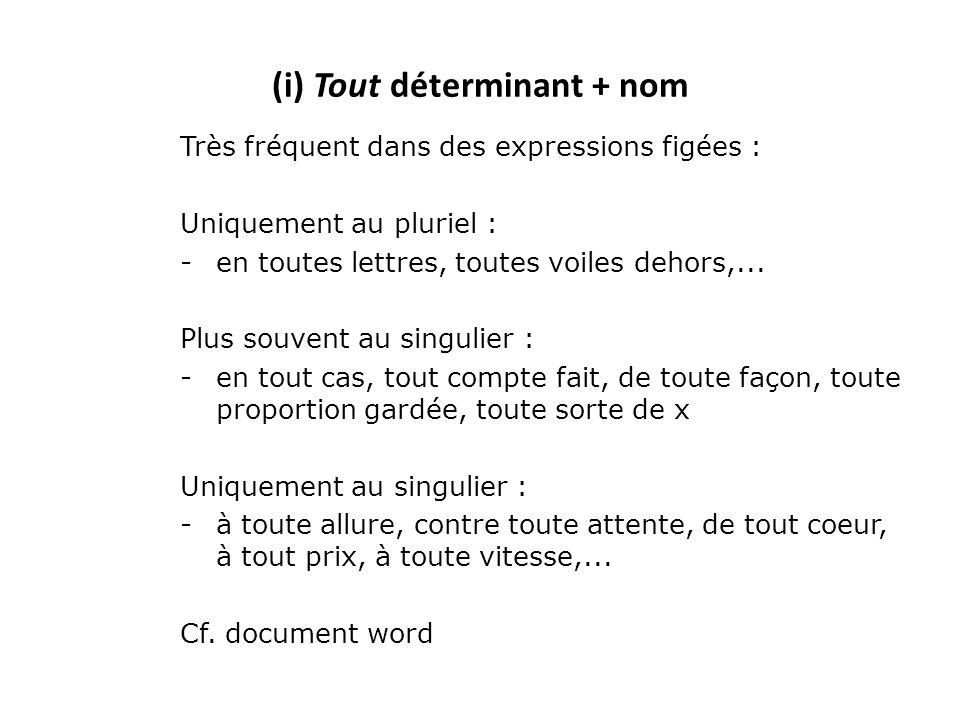 (i) Tout déterminant + nom Très fréquent dans des expressions figées : Uniquement au pluriel : -en toutes lettres, toutes voiles dehors,... Plus souve