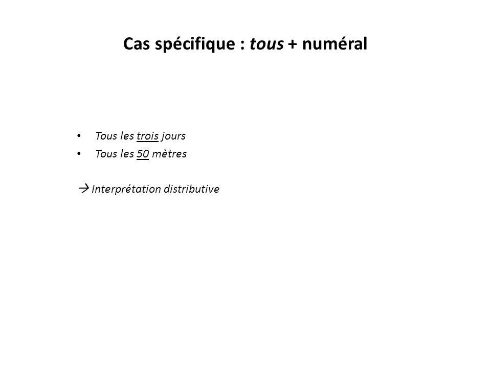 Cas spécifique : tous + numéral Tous les trois jours Tous les 50 mètres  Interprétation distributive