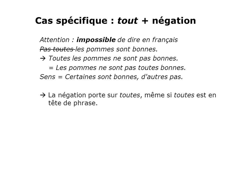 Cas spécifique : tout + négation Attention : impossible de dire en français Pas toutes les pommes sont bonnes.  Toutes les pommes ne sont pas bonnes.