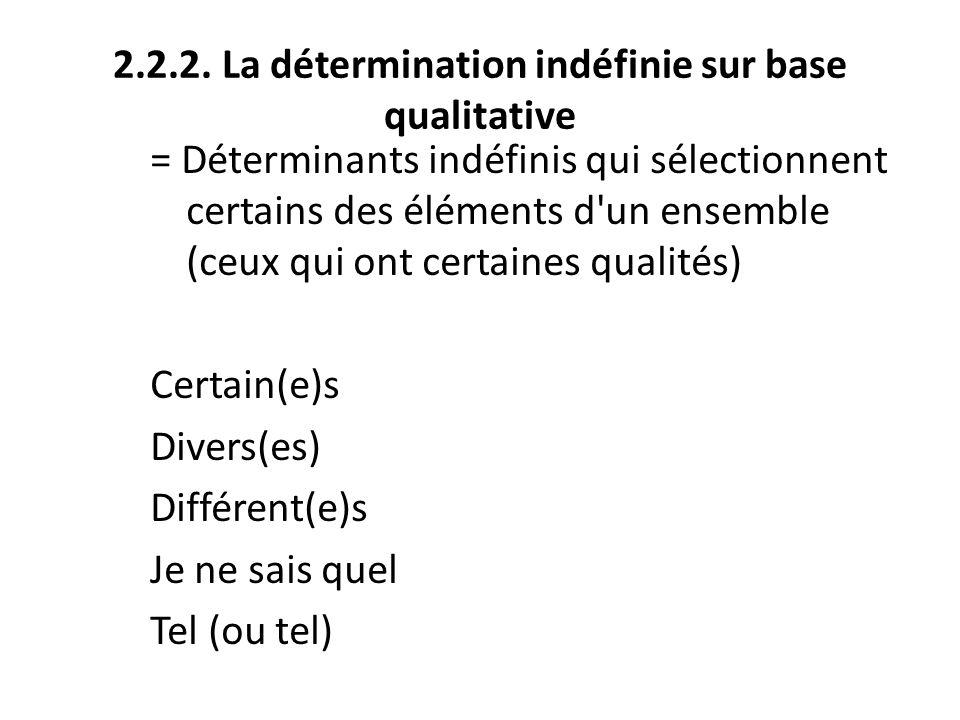 2.2.2. La détermination indéfinie sur base qualitative = Déterminants indéfinis qui sélectionnent certains des éléments d'un ensemble (ceux qui ont ce