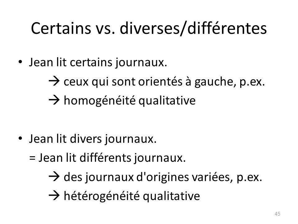 Certains vs. diverses/différentes Jean lit certains journaux.  ceux qui sont orientés à gauche, p.ex.  homogénéité qualitative Jean lit divers journ