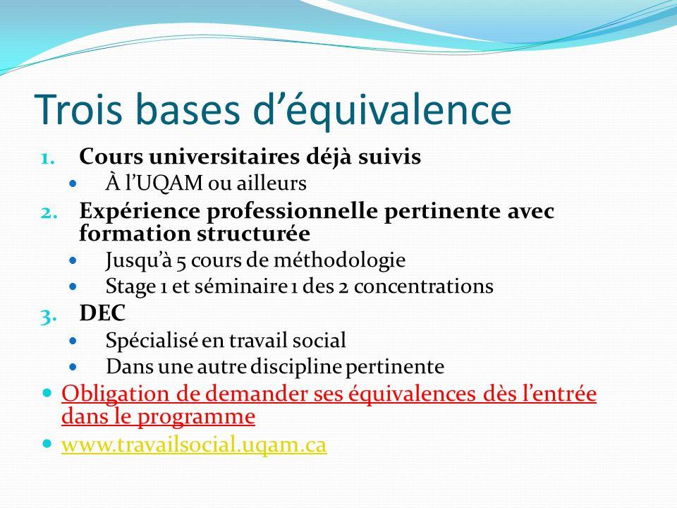 Trois bases d'équivalence 1. Cours universitaires déjà suivis À l'UQAM ou ailleurs 2.