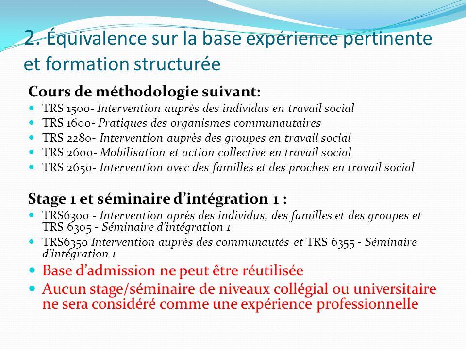 Conditions pour les cours Expérience dans le champ du travail social d'au moins un an (1500 heures) pour chacun des cours demandé et Formation structurée d'au moins 20 heures portant sur le sujet du cours pour chacun des cours
