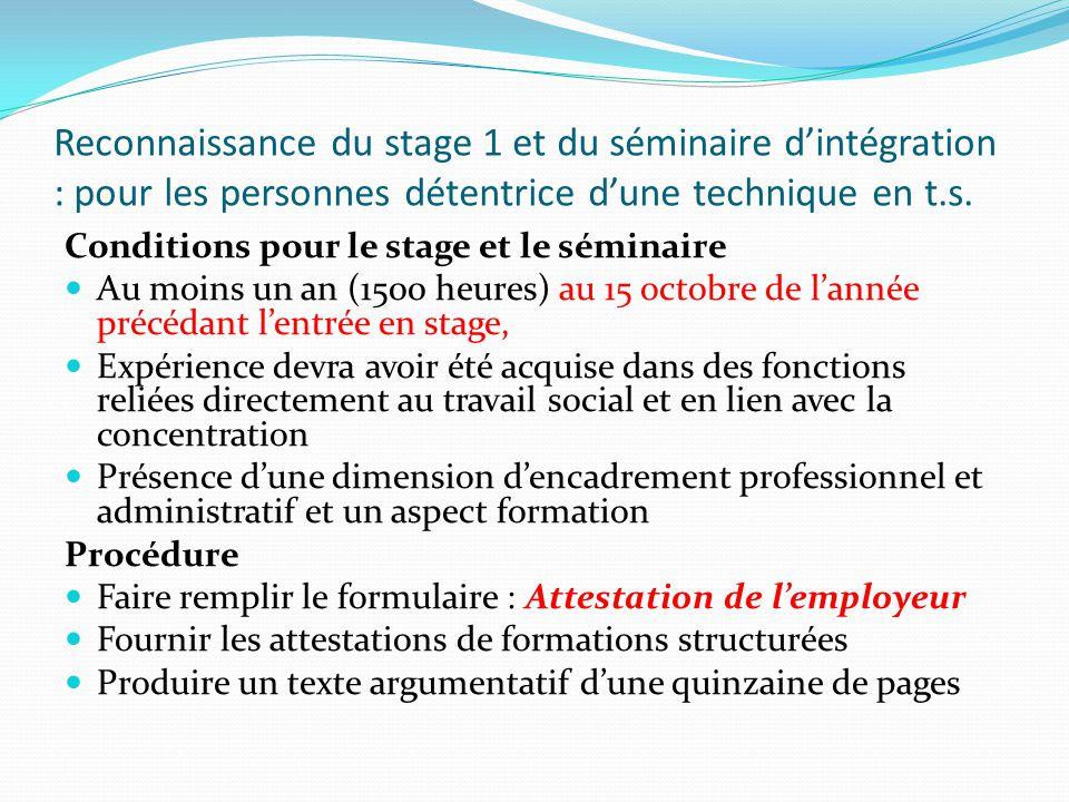 Reconnaissance du stage 1 et du séminaire d'intégration : pour les personnes détentrice d'une technique en t.s.