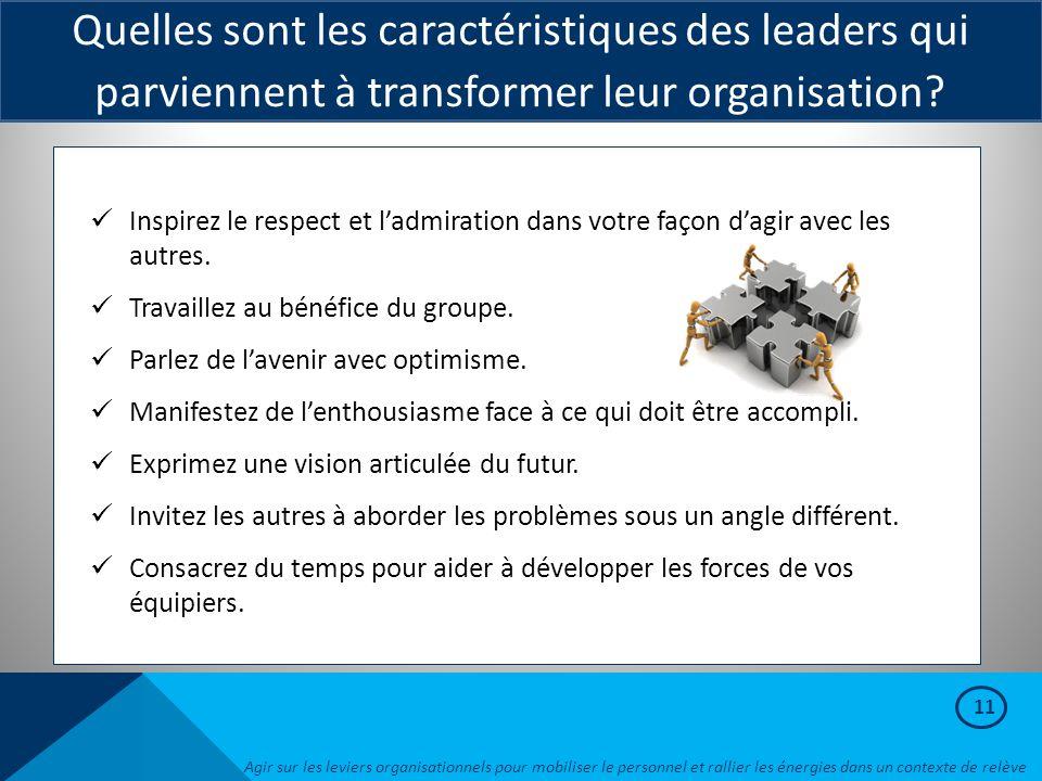 11 Quelles sont les caractéristiques des leaders qui parviennent à transformer leur organisation? Inspirez le respect et l'admiration dans votre façon