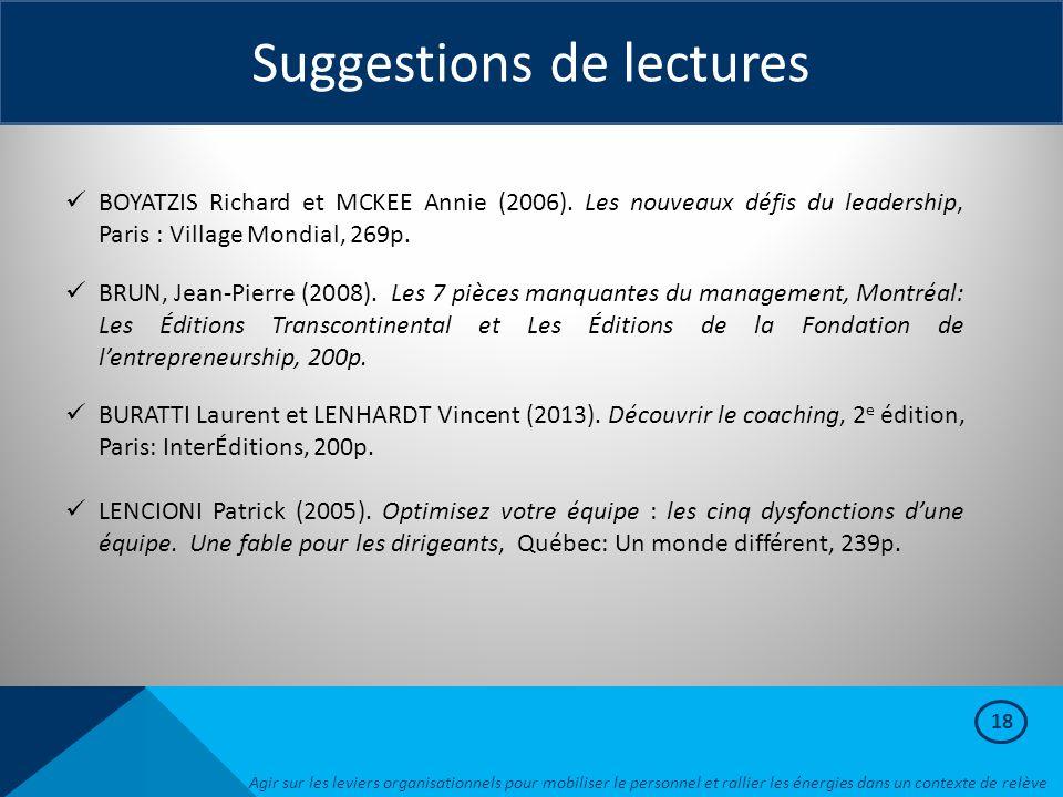 18 Suggestions de lectures BOYATZIS Richard et MCKEE Annie (2006). Les nouveaux défis du leadership, Paris : Village Mondial, 269p. BRUN, Jean-Pierre