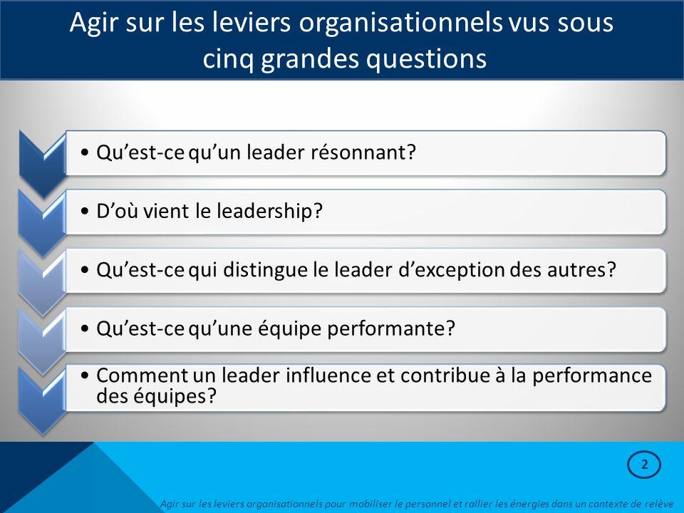2 Agir sur les leviers organisationnels vus sous cinq grandes questions Agir sur les leviers organisationnels pour mobiliser le personnel et rallier l