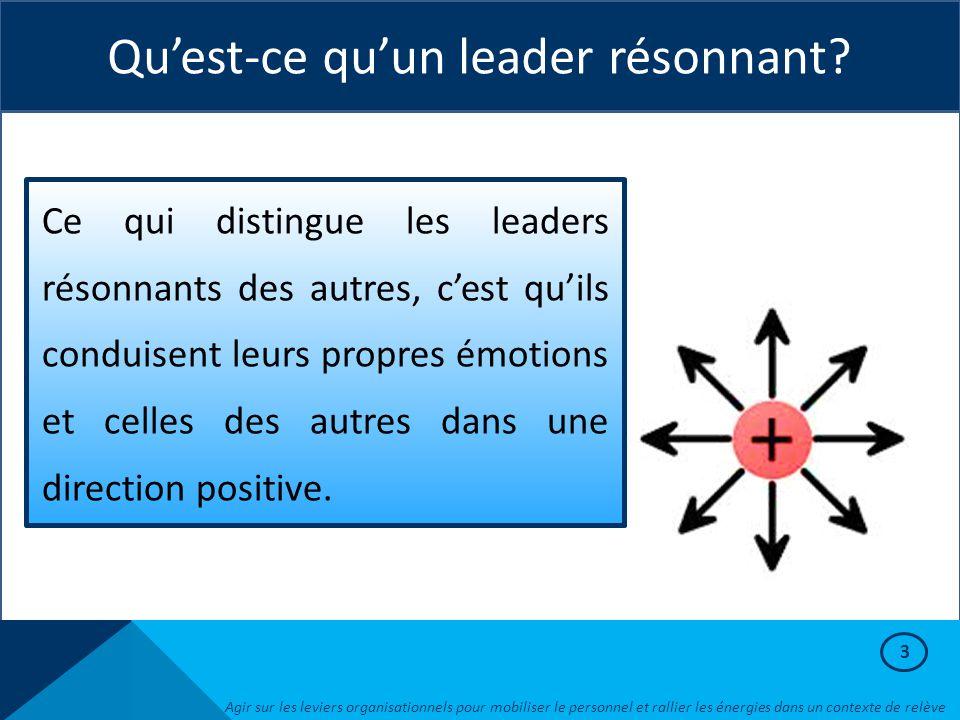 3 Qu'est-ce qu'un leader résonnant? Ce qui distingue les leaders résonnants des autres, c'est qu'ils conduisent leurs propres émotions et celles des a