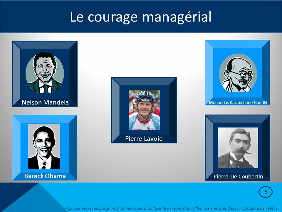 5 Le courage managérial Pierre Lavoie Pierre De Coubertin Mohandas Karanchand Gandhi Nelson Mandela Barack Obama Agir sur les leviers organisationnels